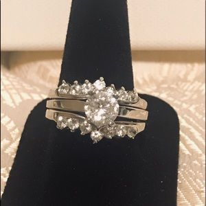 Sz 10 sterling silver rings CZ like wedding set